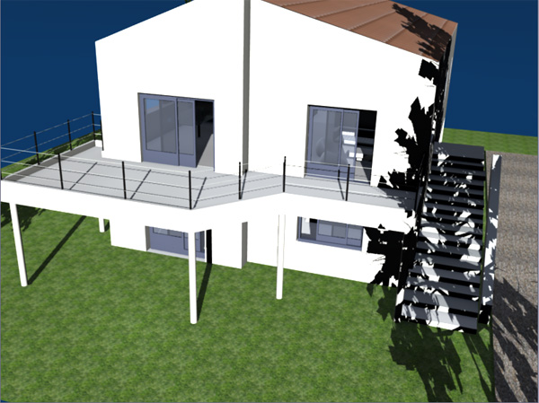 terrasse beton pilotis