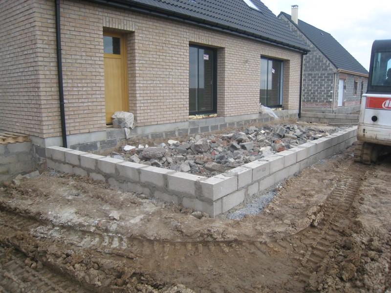 Terrasse beton sur parpaing