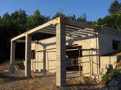 terrasse beton sur pilier