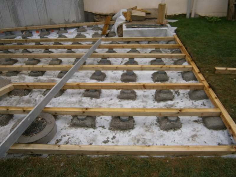 terrasse beton sur plot