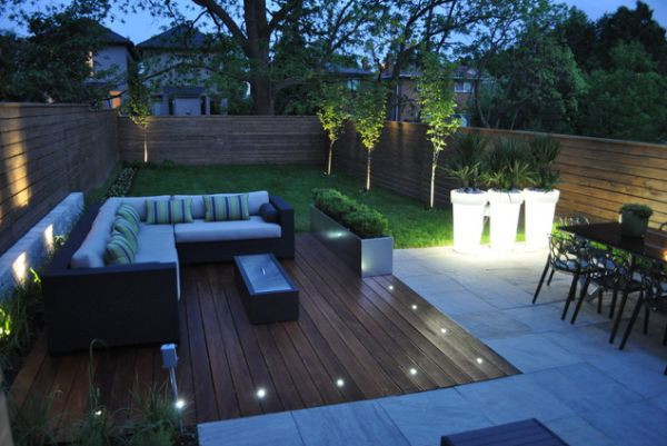 terrasse bois avec spot
