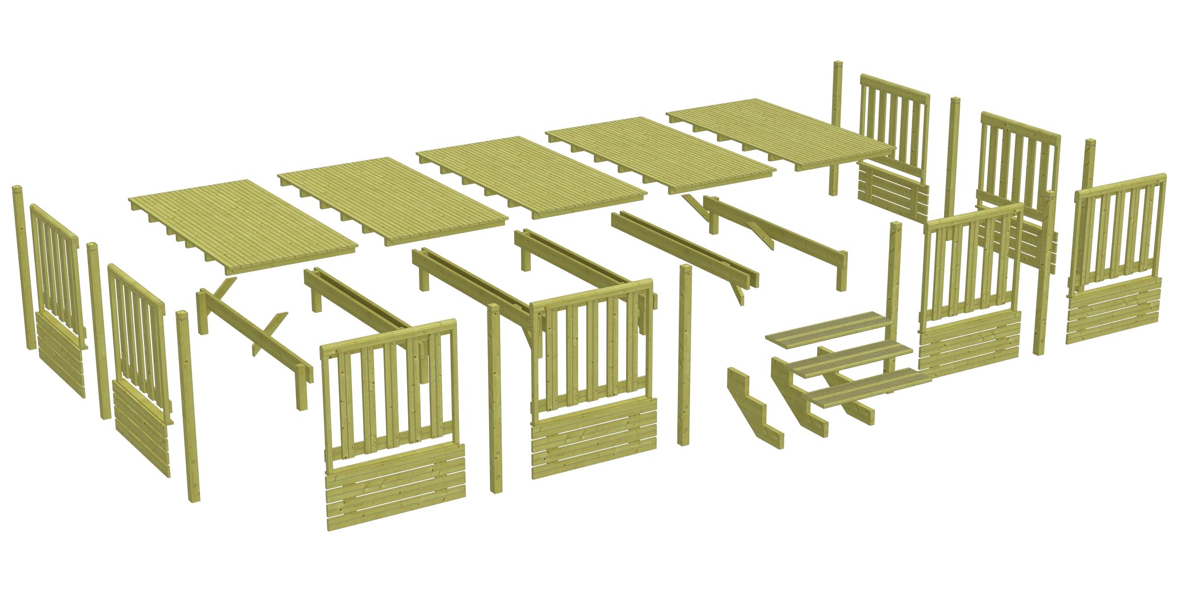 Terrasse bois couverte pour mobil-home