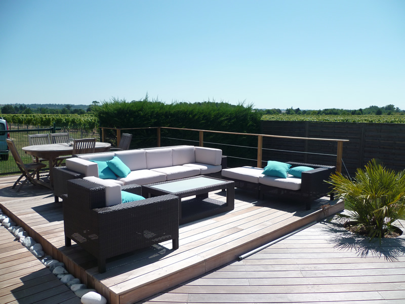 terrasse bois et galets