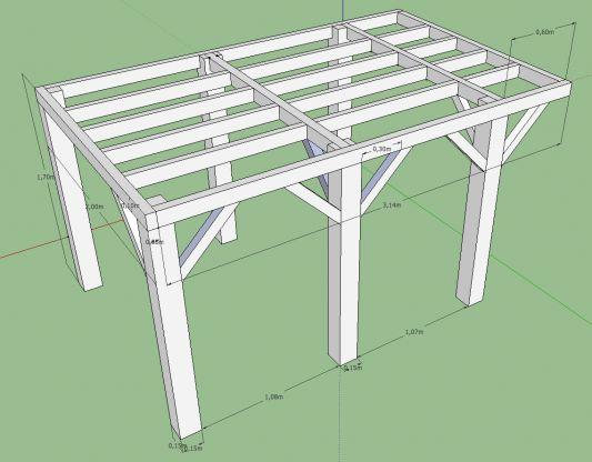 Terrasse bois sur pilotis plan
