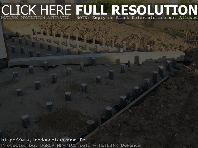 terrasse composite sur plot beton