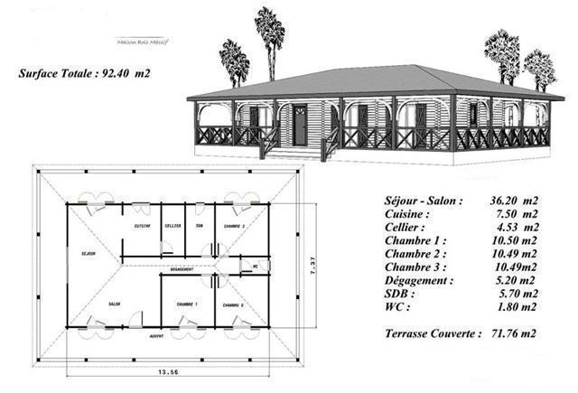 Terrasse couverte bois plan