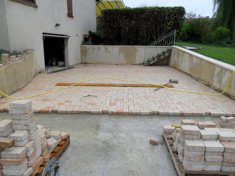 terrasse en pave sur dalle beton