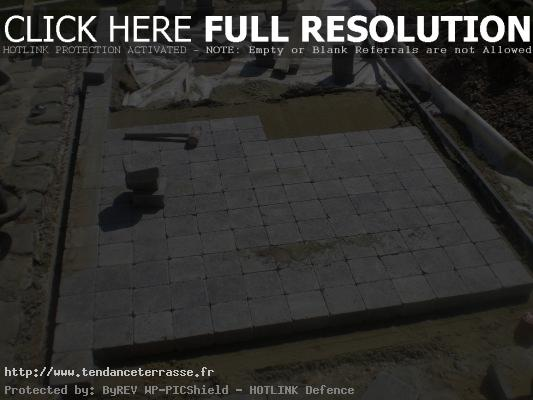 Terrasse en pave sur lit de sable