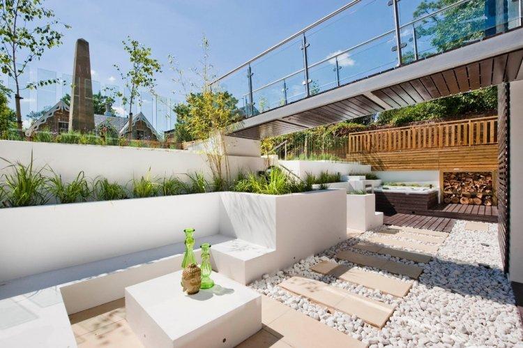 terrasse galets et bois