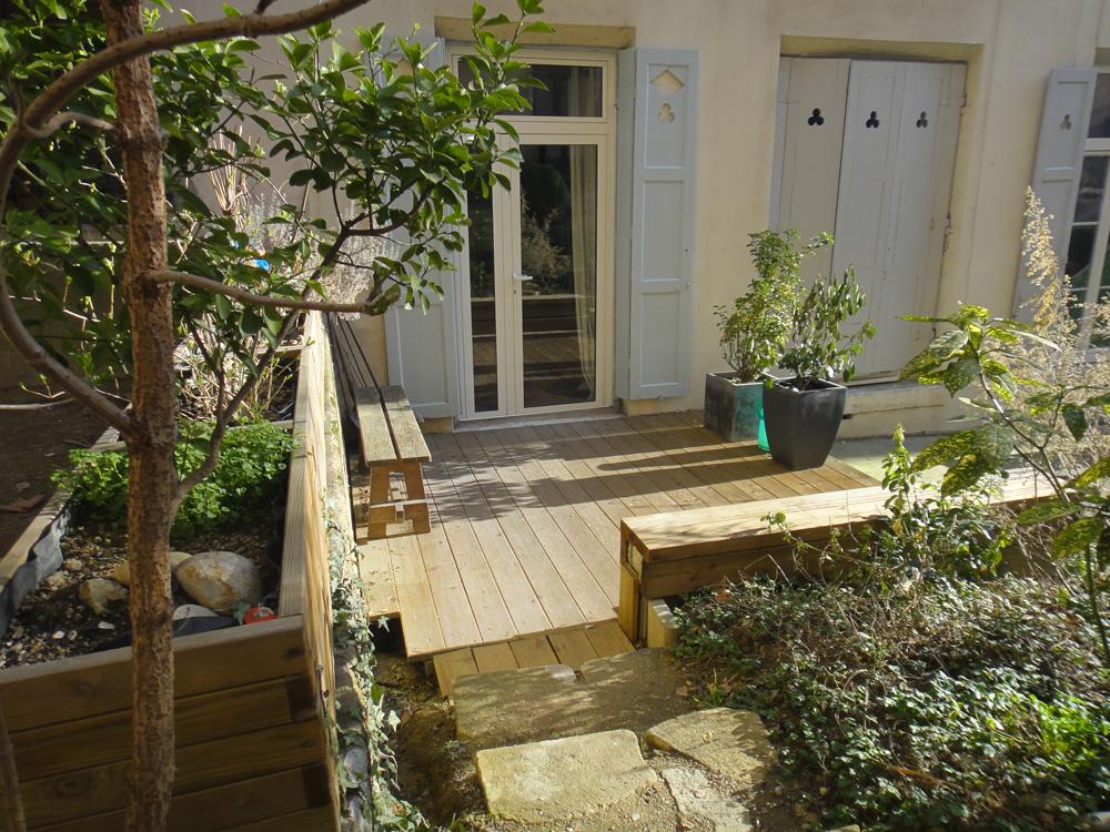 Terrasse jardin immobilier lyon