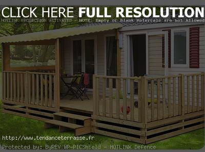 Terrasse semi couverte mobil home